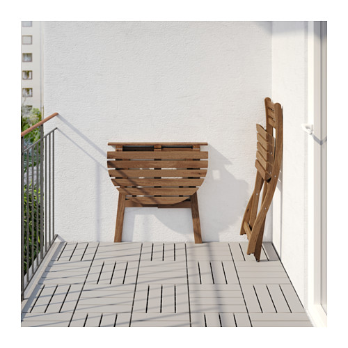 ASKHOLMEN - table for wall+1 fold chr, outdoor, grey-brown stained/Kuddarna grey | IKEA Hong Kong and Macau - PE619000_S4