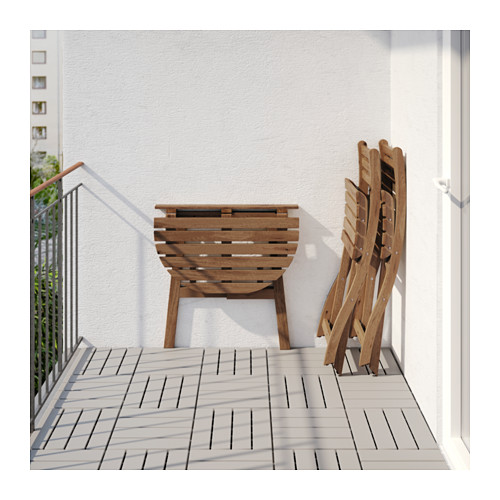 ASKHOLMEN - table f wall+2 fold chairs, outdoor, grey-brown stained | IKEA Hong Kong and Macau - PE619004_S4