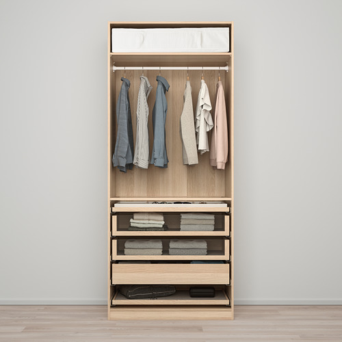 PAX/FORSAND - wardrobe combination, white stained oak effect/white stained oak effect   IKEA Hong Kong and Macau - PE760041_S4