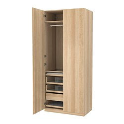 PAX/FORSAND - wardrobe combination, white stained oak effect/white stained oak effect   IKEA Hong Kong and Macau - PE760038_S3