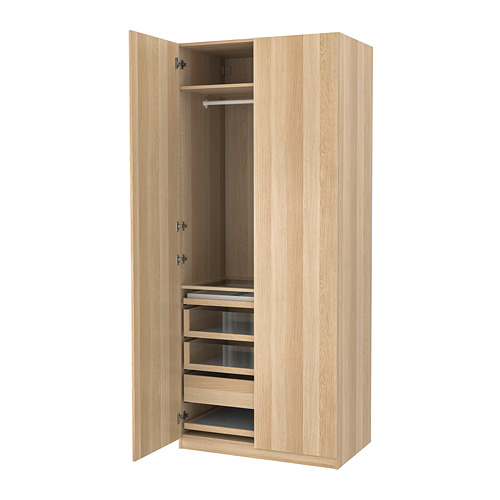 PAX/FORSAND - wardrobe combination, white stained oak effect/white stained oak effect   IKEA Hong Kong and Macau - PE760038_S4
