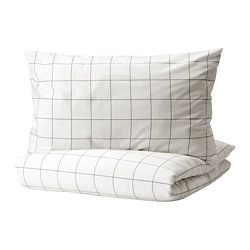 VITKLÖVER - quilt cover and 2 pillowcases, white black/check, 240x220/50x80 cm | IKEA Hong Kong and Macau - PE815083_S3