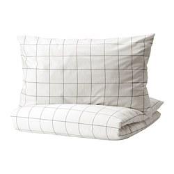 VITKLÖVER - 被套連2個枕袋, 白色 黑色/方格, 200x200/50x80 cm | IKEA 香港及澳門 - PE815083_S3