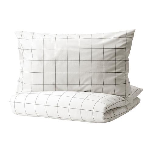 VITKLÖVER - 被套連2個枕袋, 白色 黑色/方格, 200x200/50x80 cm | IKEA 香港及澳門 - PE815083_S4