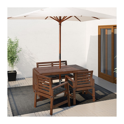 ÄPPLARÖ - table+2 chrsw armr+ bench, outdoor, brown stained | IKEA Hong Kong and Macau - PE619160_S4