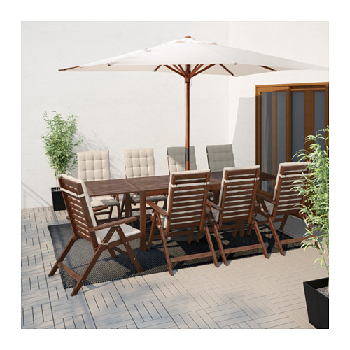 ÄPPLARÖ - table+8 reclining chairs, outdoor, brown stained | IKEA Hong Kong and Macau - PE619179_S4