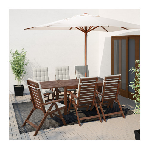 ÄPPLARÖ - table+6 reclining chairs, outdoor, brown stained | IKEA Hong Kong and Macau - PE619246_S4