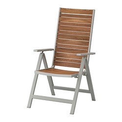 SJÄLLAND - reclining chair, outdoor, light grey foldable/light brown | IKEA Hong Kong and Macau - PE670221_S3