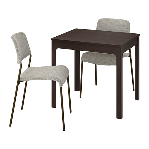 UDMUND/EKEDALEN - 一檯兩椅, 深褐色 褐色/Viarp 米黃色/褐色   IKEA 香港及澳門 - PE815215_S4