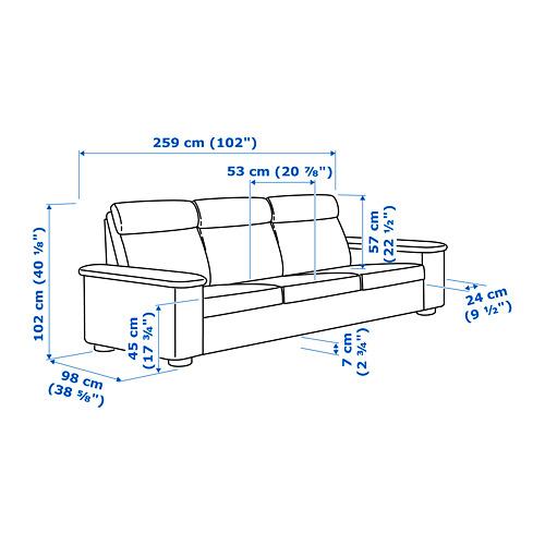 LIDHULT - 3-seat sofa, Lejde red-brown   IKEA Hong Kong and Macau - PE720242_S4