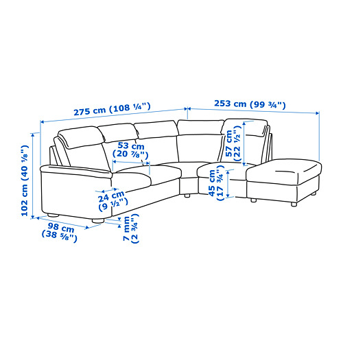 LIDHULT - corner sofa, 5-seat, with open end/Lejde grey/black | IKEA Hong Kong and Macau - PE720260_S4