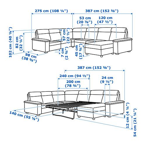 LIDHULT corner sofa-bed, 6-seat