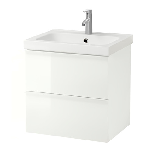 ODENSVIK/GODMORGON - wash-stand with 2 drawers, high-gloss white/Dalskär tap | IKEA Hong Kong and Macau - PE556642_S4