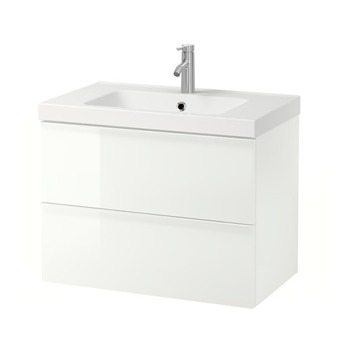 ODENSVIK/GODMORGON - wash-stand with 2 drawers, high-gloss white/Dalskär tap | IKEA Hong Kong and Macau - PE556628_S4