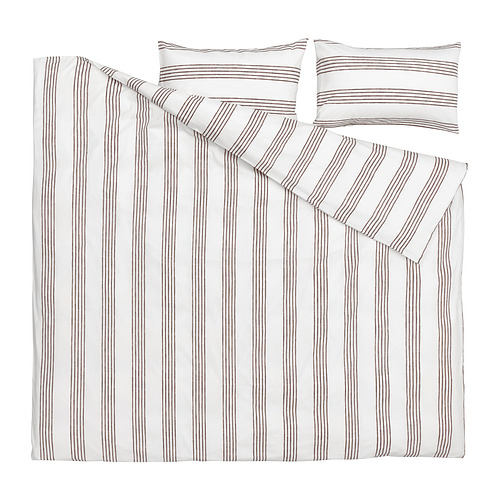 SMALFRÄKEN - duvet cover and 2 pillowcases, white/brown, 240x220/50x80 cm | IKEA Hong Kong and Macau - PE815773_S4