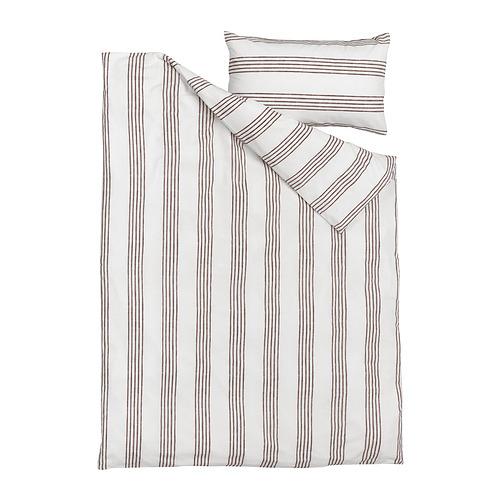 SMALFRÄKEN - 被套連枕袋, 白色/褐色, 150x200/50x80 cm | IKEA 香港及澳門 - PE815776_S4