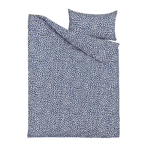 KVASTFIBBLA - 被套連枕袋, 白色/深藍色, 150x200/50x80 cm   IKEA 香港及澳門 - PE815782_S4