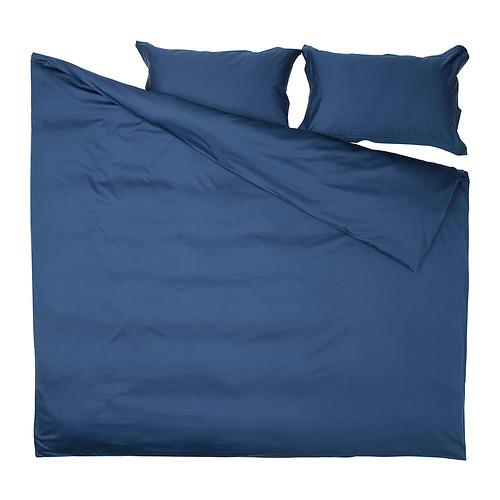 LUKTJASMIN - 被套連2個枕袋, 深藍色, 240x220/50x80 cm | IKEA 香港及澳門 - PE815785_S4