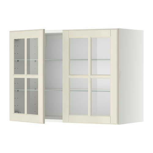 METOD - wall cabinet w shelves/2 glass drs, white/Bodbyn off-white | IKEA Hong Kong and Macau - PE334090_S4