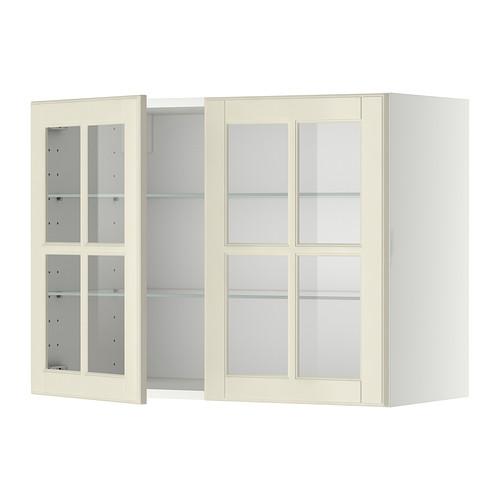 METOD - 吊櫃連層板/1對玻璃門, white/Bodbyn off-white | IKEA 香港及澳門 - PE334090_S4