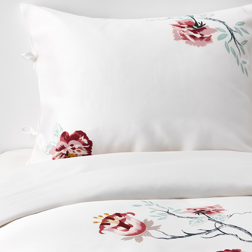 JÄTTELILJA - quilt cover and 2 pillowcases, white/floral patterned, 200x200/50x80 cm  | IKEA Hong Kong and Macau - PE674790_S4