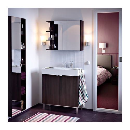 LILLÅNGEN - mirror cabinet 2 doors/1 end unit, black-brown | IKEA Hong Kong and Macau - PE362782_S4
