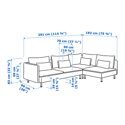 SÖDERHAMN corner sofa, 4-seat