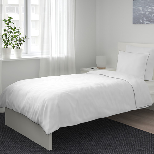 KUNGSBLOMMA - quilt cover and pillowcase, white/grey, 150x200/50x80 cm  | IKEA Hong Kong and Macau - PE688829_S4