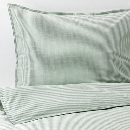 BERGPALM - quilt cover and 2 pillowcases, green/stripe, 200x200/50x80 cm  | IKEA Hong Kong and Macau - PE692783_S4