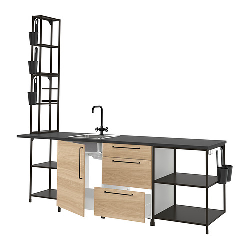 ENHET - 廚房, 炭黑色/橡木紋 | IKEA 香港及澳門 - PE815964_S4