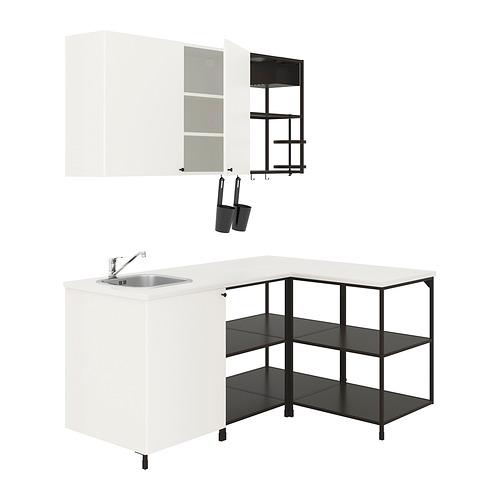 ENHET - 角位廚房, 炭黑色/白色   IKEA 香港及澳門 - PE815972_S4