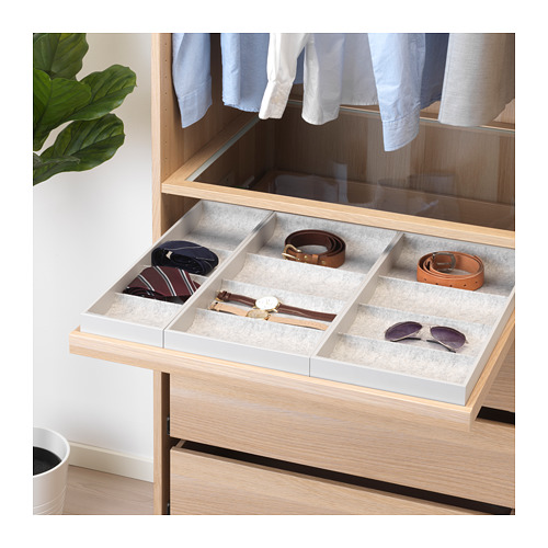 KOMPLEMENT - pull-out tray with insert, white stained oak effect | IKEA Hong Kong and Macau - PE671136_S4