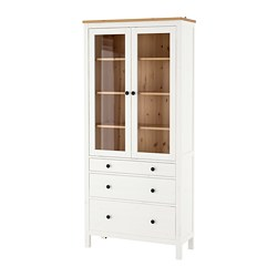 HEMNES - glass-door cabinet with 3 drawers, white stain/light brown | IKEA Hong Kong and Macau - PE671190_S3