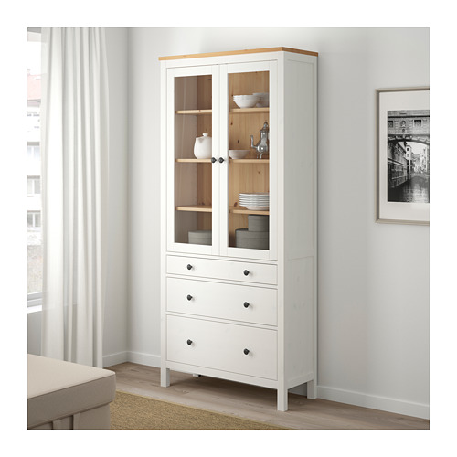 HEMNES - glass-door cabinet with 3 drawers, white stain/light brown | IKEA Hong Kong and Macau - PE671191_S4