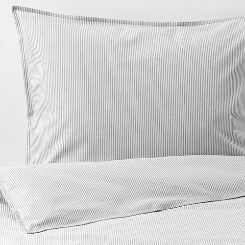 BERGPALM - quilt cover and pillowcase, grey/stripe, 150x200/50x80 cm  | IKEA Hong Kong and Macau - PE692780_S4