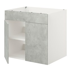 ENHET - base cabinet for hob w door, white/concrete effect | IKEA Hong Kong and Macau - PE816011_S3