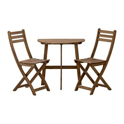 ASKHOLMEN - 戶外上牆檯連2張摺椅, 染灰褐色 | IKEA 香港及澳門 - PE421058_S3