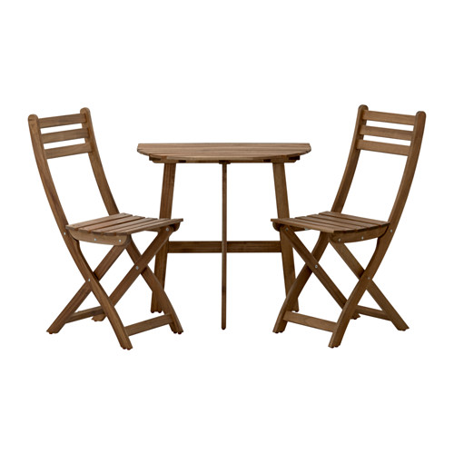 ASKHOLMEN - table f wall+2 fold chairs, outdoor, grey-brown stained | IKEA Hong Kong and Macau - PE421058_S4