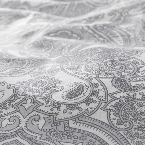 JÄTTEVALLMO quilt cover and 2 pillowcases, white/grey, 240x220/50x80 cm