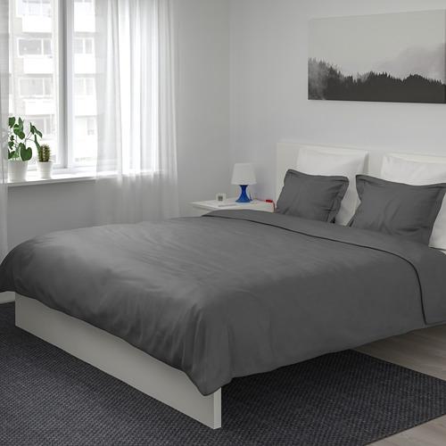 LUKTJASMIN 被套連2個枕袋, 深灰色, 200x200/50x80 cm