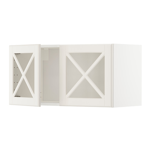 METOD - wall cabinet with 2 glass doors, white/Bodbyn off-white | IKEA Hong Kong and Macau - PE671333_S4