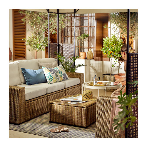 SOLLERÖN - 3-seat modular sofa, outdoor, brown/Frösön/Duvholmen beige | IKEA Hong Kong and Macau - PE721089_S4