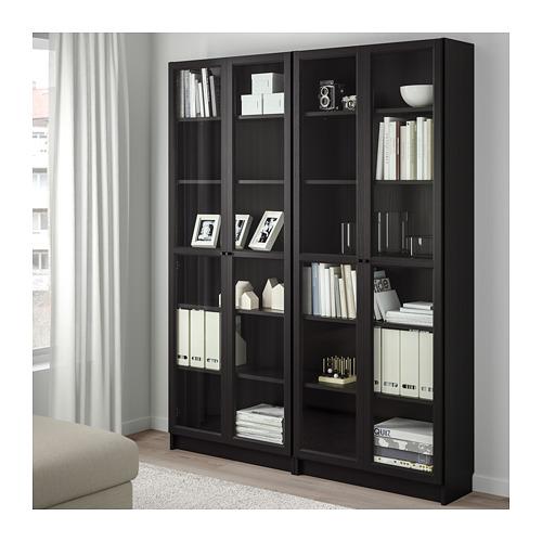 BILLY/OXBERG - bookcase, black-brown/glass | IKEA Hong Kong and Macau - PE671468_S4