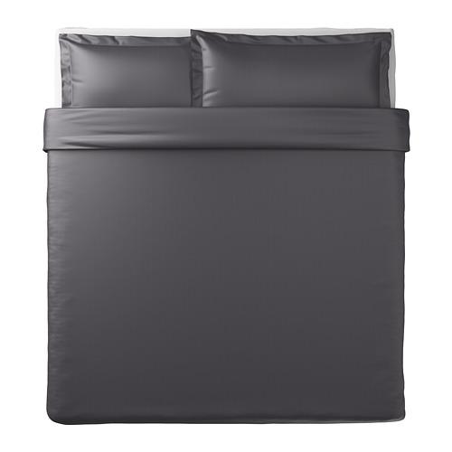 LUKTJASMIN - 被套連2個枕袋, 深灰色, 240x220/50x80 cm    IKEA 香港及澳門 - PE721346_S4