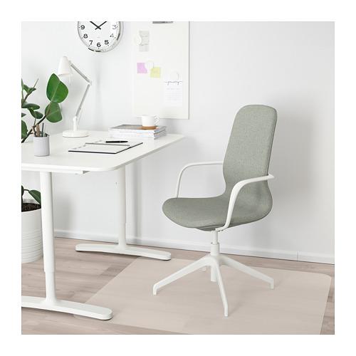 LÅNGFJÄLL 旋轉椅連扶手, gunnared 淺綠色/白色