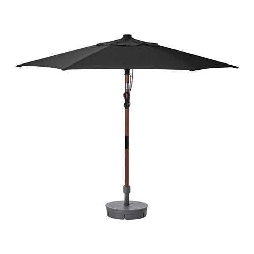LINDÖJA/BETSÖ - parasol with base, brown wood effect black/Grytö | IKEA Hong Kong and Macau - PE761826_S4