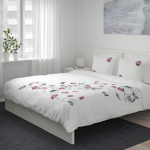 JÄTTELILJA - quilt cover and 2 pillowcases, white/floral patterned, 200x200/50x80 cm  | IKEA Hong Kong and Macau - PE674776_S4