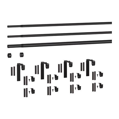 HUGAD/RÄCKA - triple curtain rod combination, black | IKEA Hong Kong and Macau - PE336643_S4