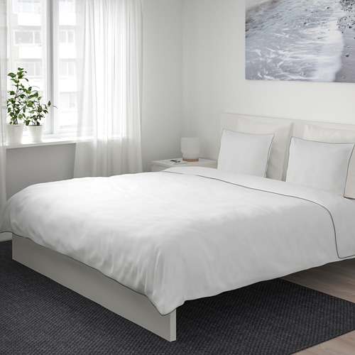 KUNGSBLOMMA - quilt cover and 2 pillowcases, white/grey, 240x220/50x80 cm  | IKEA Hong Kong and Macau - PE688824_S4