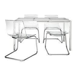 TORSBY/TOBIAS - table and 4 chairs, white/transparent | IKEA Hong Kong and Macau - PE336832_S3